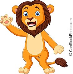 Cartoon funny lion waving hand