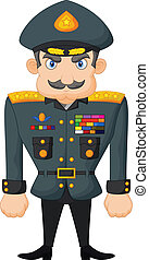 Vector illustration of Cartoon military general