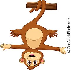 cartoon monkey hanging on a tree