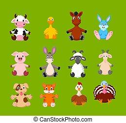 Cartoon set of cute farm animals