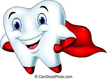 Cartoon superhero tooth posing