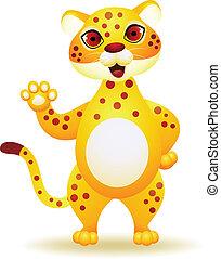 Cheetah cartoon waving hand