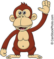 Chimpanzee cartoon waving hand