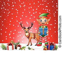 Christmas background with elf and deer