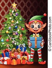 Christmas background with elf holding gift box
