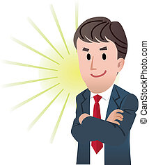 Vector illustration of Confident business man with arm crossed against flash light background.
