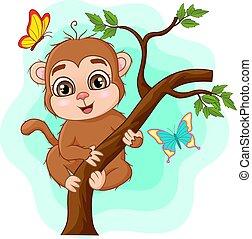 Cute baby monkey on tree branch
