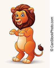 Cute cartoon lion standing