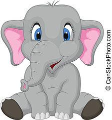 Vector illustration of Cute elephant cartoon sitting
