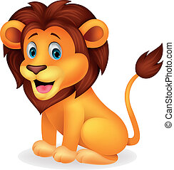 Vector illustration of Cute lion cartoon