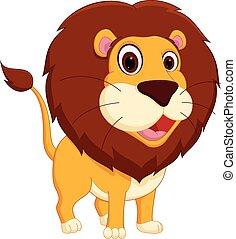 Cute lion cartoon standing