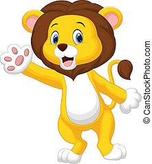 Cute lion cartoon waving hand