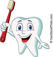 Cute tooth cartoon holding tooth br