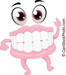 Vector Illustration of Dentures Mascot