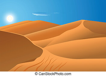 vector illustration of desert dunes with blue sky and sun in the background