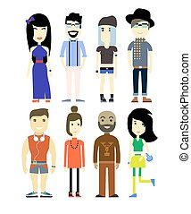Vector illustration of different people characters, set collection.