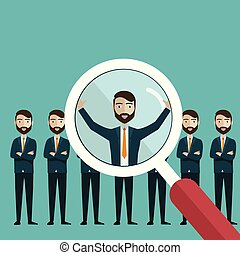 Vector illustration of finding professional staff with magnifying glass.