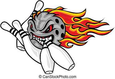 vector illustration of Flaming bowling ball