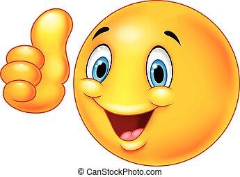 Happy cartoon smiley emoticon givin
