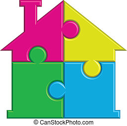 Vector illustration of house from puzzles