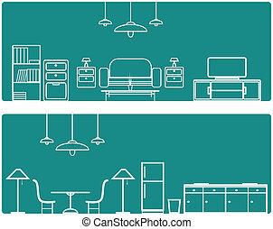 Interior Banner set .with furniture