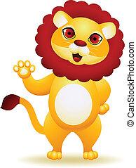 Lion cartoon waving hand