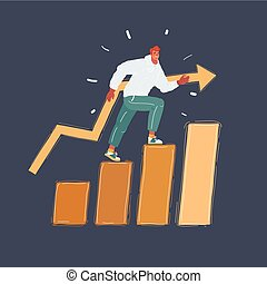 Vector illustration of man steps on success level on dark. Increase of income, career, training
