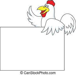 Vector Illustration Of Rooster carton with blank sign