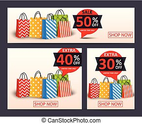 Sale banner with shopping bags
