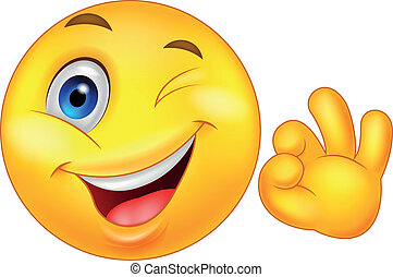 Vector illustration of Smiley emoticon with ok sign