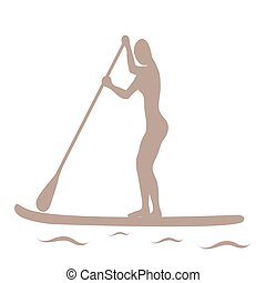 Vector illustration of stand up paddling female silhouette icon.