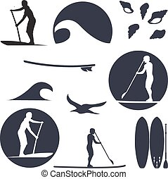 vector illustration of stand up paddling silhouette icon set in flat design style as template for your design, article or print
