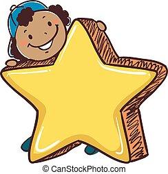 Stick Boy Holding a Big Star Symbol