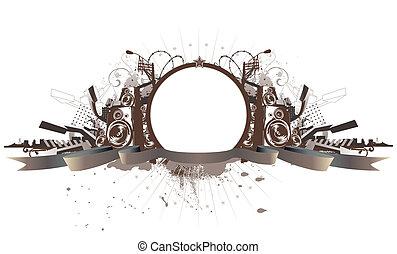 Vector illustration of style urban grunge frame