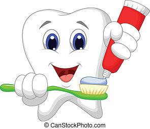 Tooth cartoon putting tooth paste o