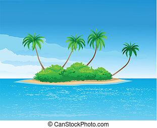 vector illustration of tropical island