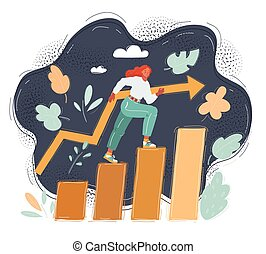 Vector illustration of woman steps on success level on dark. Increase of income, career, training