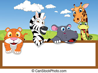 Vector Illustration Of Zoo Animal Cartoon With Wooden sign