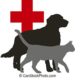 Vector illustration - pet: dog and cat and red cross on white background
