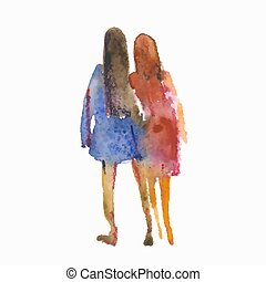 Vector illustration stylized people. Watercolor sketches