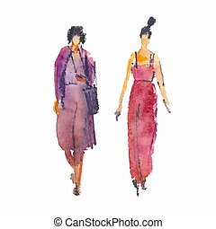 Vector illustration: stylized people. Watercolor sketches