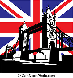 vector image of British and london symbols. Famous London Bridge on the background of the British flag