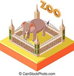 Zoo Elephant isometric icon2