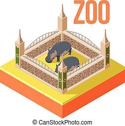 Zoo hippos isometric icon