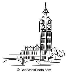 vector images of Big Ben in London