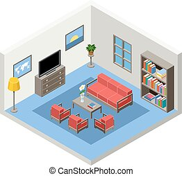isometric room with furniture