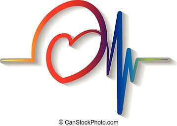 Vector logo red blue Cardiogram