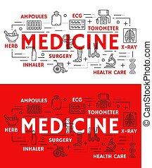 Vector medical poster of thin line medicine symbol