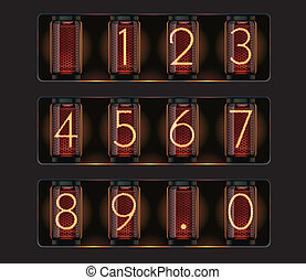Set of detailed glowing nixie tubes showing digits and dot