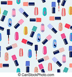 Vector pattern of colorful nail polish bottles.